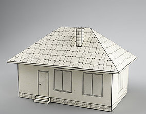 Paper house low poly 3D asset
