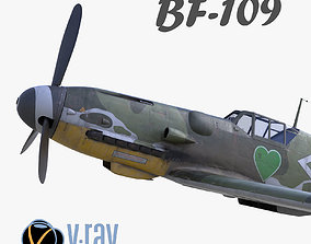 low-poly 3D model BF-109 German fighter V-Ray materials 2
