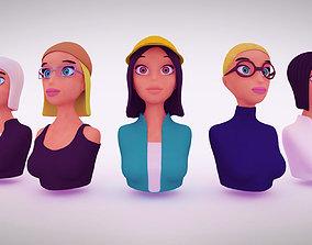Nine VR female character avatars 3D model