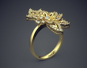 Heart Shape Ring With Diamonds CAD-5010 3D printable model