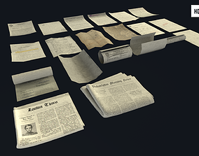 3D asset Scattered Paper Debris HQ and Newspaper