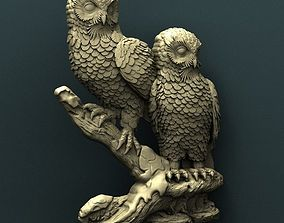 Owl 3d stl model for cnc