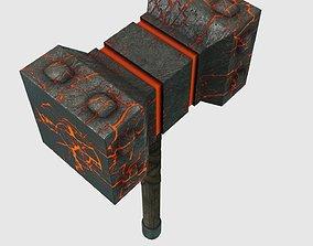 Low Poly Mjlonir Hammer Model With PBR Materials 3D asset