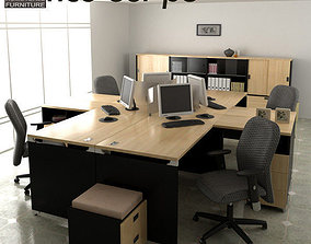 3D asset low-poly Office Set