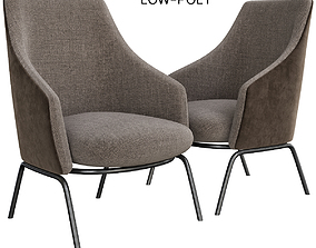 low-poly Leather easy chair with armrests GERMANA low poly