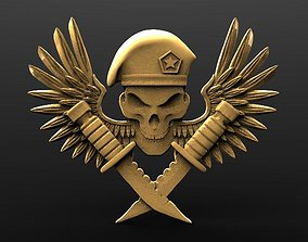 3D printable model Skull soldier bas-relief cnc