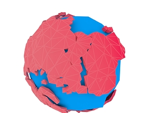 animated Low poly Globe 3d Model Animated