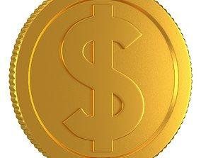 3D model Dollar Gold Coin 01