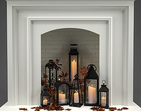 Fireplace with candles and leaves 3D model