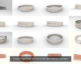 Female Finger Rings with Fruit of Holy Spirit 3D model