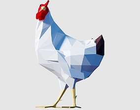 3D asset low-poly Hen Chicken