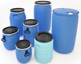 Plastic Barrels Set 3D