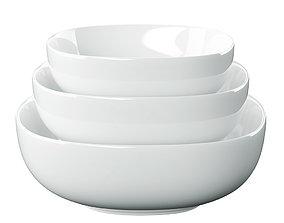 Denmark Soft Square Serving Bowls 3D model