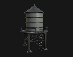 3D model low-poly Water Tower ladder