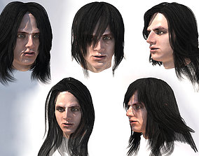 3D asset realtime Set male long hairs 5 types 4