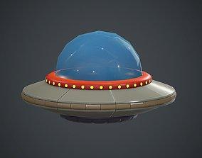 3D model Cartoon UFO 1 PBR Game Ready