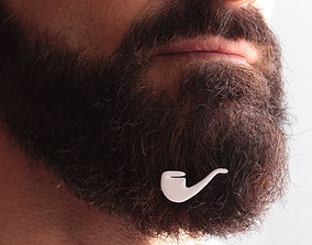 Pipe for beard - front wearing 3D print model