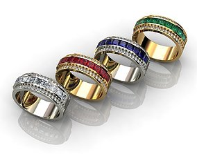 silver Mens Diamond and Sapphire Ring 3D print model