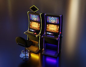 technology 3D model Slot Machines with Casino chair