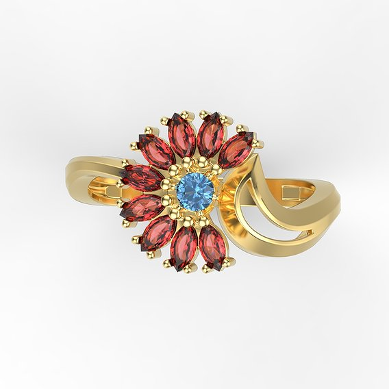 Women's ring flower with gems 3D print model