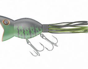 Arbogast Hula Popper Topwater Fishing Lure 3D
