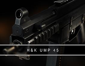 3D asset UMP 45 Submachine gun VR AR Gameready