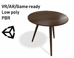 Article Amoeba Wood End Table Lowpoly model low-poly