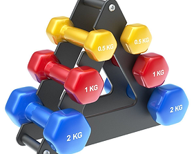 3D Dumbbells stack with fitness dumbbells