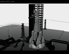 3D asset NASA spaceship Launchpad