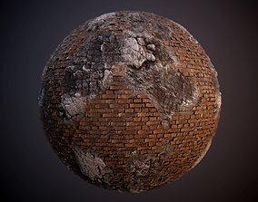 3D Damaged Brick Concrete Rebar PBR Texture