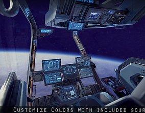 Sci Fi Fighter Cockpit 4 3D model