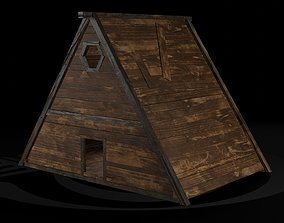 3D asset AAA Wooden Enterable Medieval Primal Thatched 3