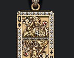 Club queen playing card pendant 3D printable model