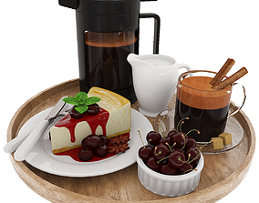 Coffee and cherry cheesecake 3D model