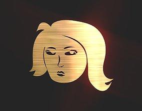 2D 3D Woman Face Decoration low-poly