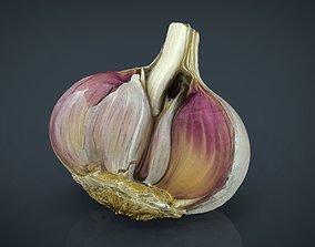 3D asset Open garlic