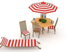 Beach Furniture Set Lowpoly 3D model
