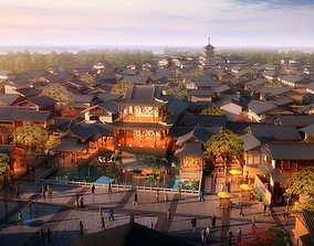 3D model The Ancient Chinese town and Temples