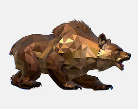 Animated Low Poly Art Brown Bear 3D asset