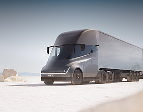 Electric semi-truck unbranded 3D