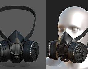 Gas mask protection futuristic fantasy human 3D model 1