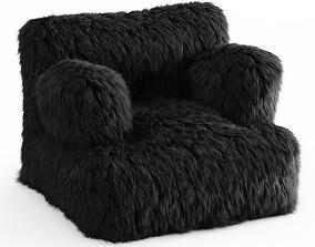 3D Winter Fox Faux-Fur Eco-Lounger Black