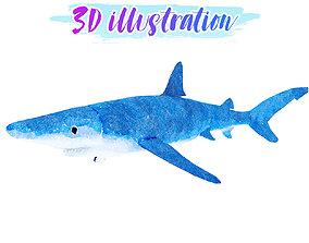 Low Poly Blue-Shark illustration Animated - 3D asset 1