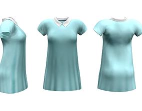 3D asset Peter Pan Collar Shift Dress