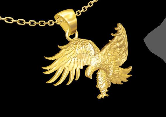 Hunter Eagle Sculpture pendant jewelry gold necklace 3D print model