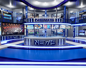 News TV Studio Unreal 3D asset