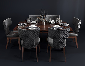 3D model Bamax Slash dining room set with table setting 1