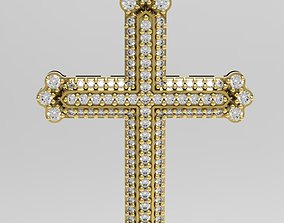 Cross with small gems and intricate back 3D print model