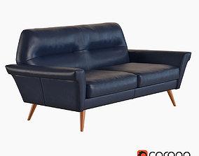 3D model West Elm Denmark Leather Loveseat