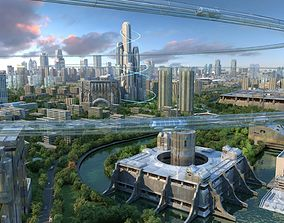 3D animated Future city 01